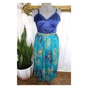 Vtg Ann Travis Paisley Pleated Midi Skirt